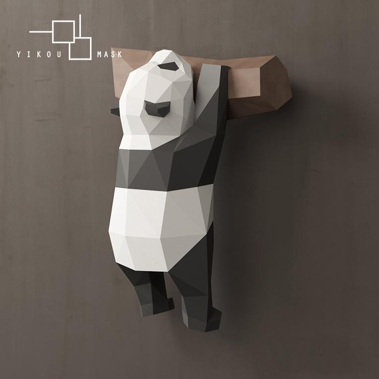 3d几何熊猫摆件可爱搞笑国宝壁挂