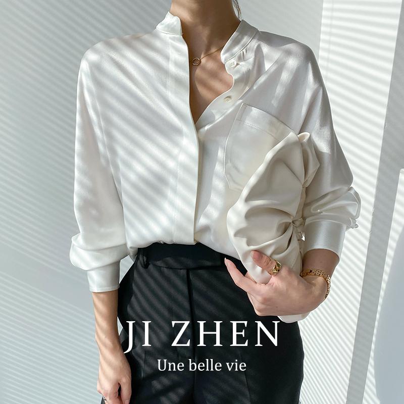 日本进口三醋酸2021新款醋酸衬衫女高端缎面真丝V领长袖白衬衣薄