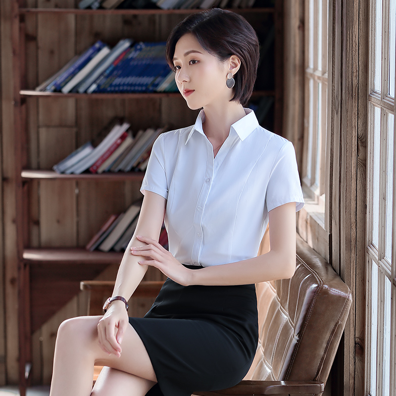 Clean color short sleeve V-neck shirt office uniform half sleeve inch dress with thin waist and professional dress with small cotton
