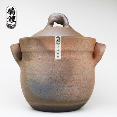 孕产妇儿童传统手工双盖防溢无釉砂锅煲汤锅炖锅家用沙锅燃气明火