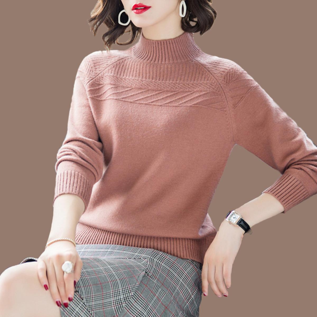 半高领毛衣女士纯2021新款秋冬季加厚款羊毛衫宽松套头打底羊绒衫