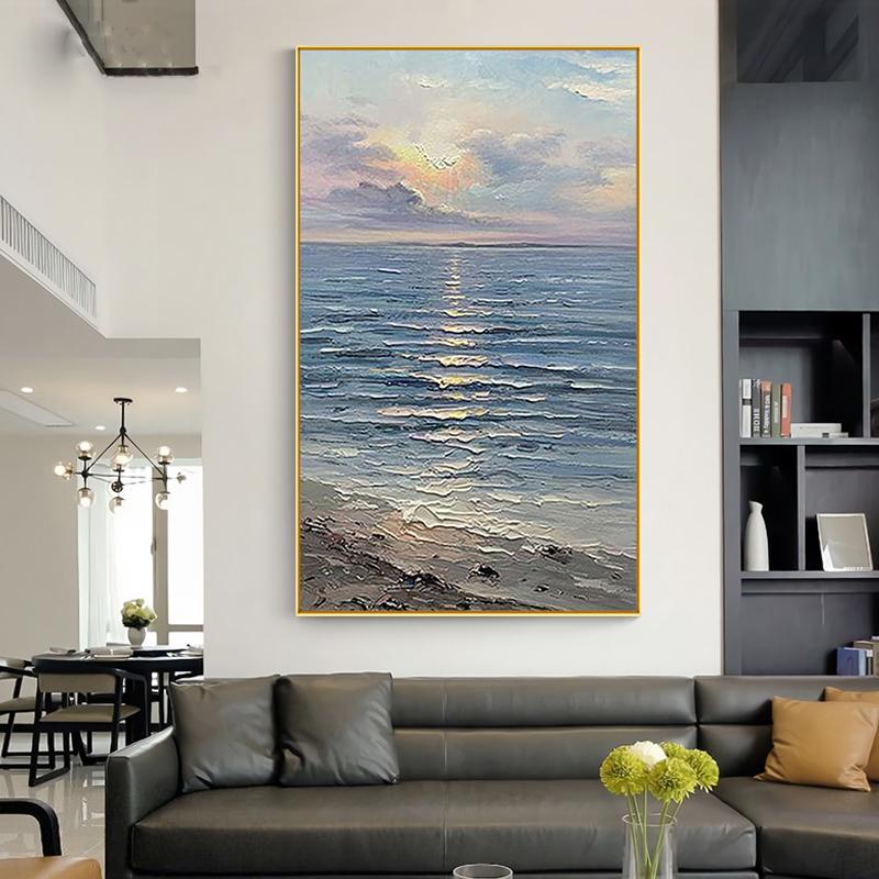 大海風景壁畫美式客廳玄關走廊輕奢大幅掛畫純手繪油畫日出裝飾畫