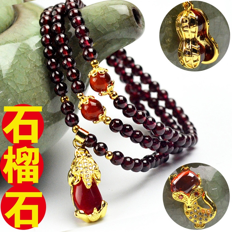 Quality 6A Natural Garnet Bracelet female wine red pomegranate hand string beauty gem hand ornaments birthday gift