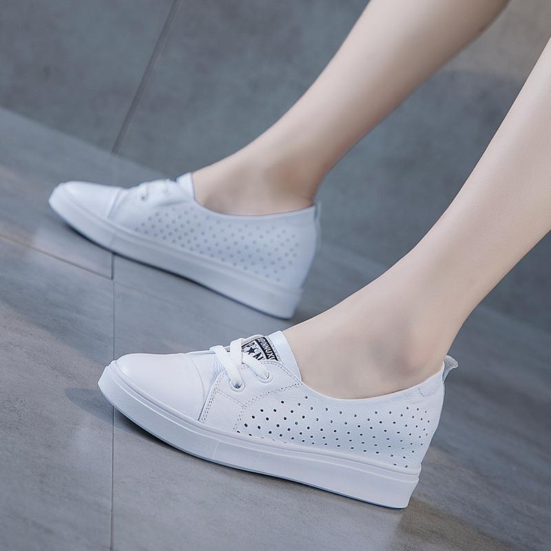 真皮夏季内增高小白鞋女2020夏款透气爆款百搭镂空浅口一脚蹬白鞋