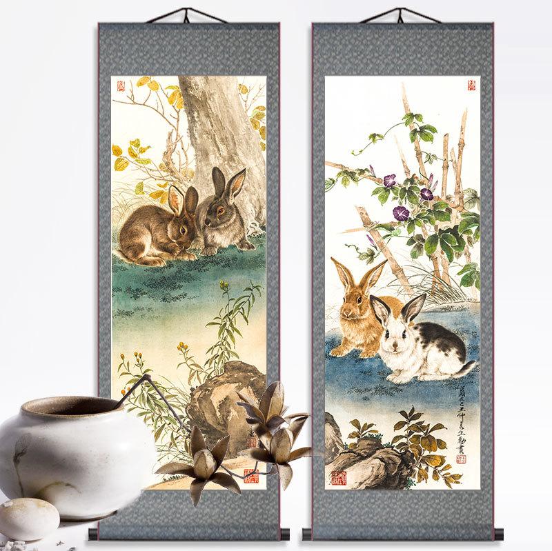 兔年大吉卷軸畫王生雙兔生日禮品屬相畫生肖畫兔子掛畫兔裝飾畫