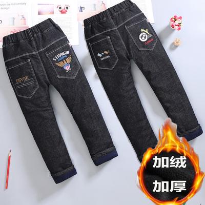 男童加绒牛仔裤子加厚儿童装2019秋冬季新款洋气修身韩版中大童潮