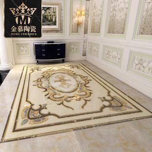 定制欧式轻奢镀金地面抛晶砖瓷砖拼花地砖仿水刀拼图玄关入户客餐