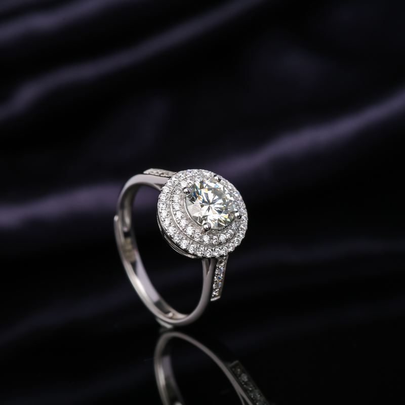 Mosang stone diamond ring for women with adjustable opening one carat two carat customized platinum ring proposal gift