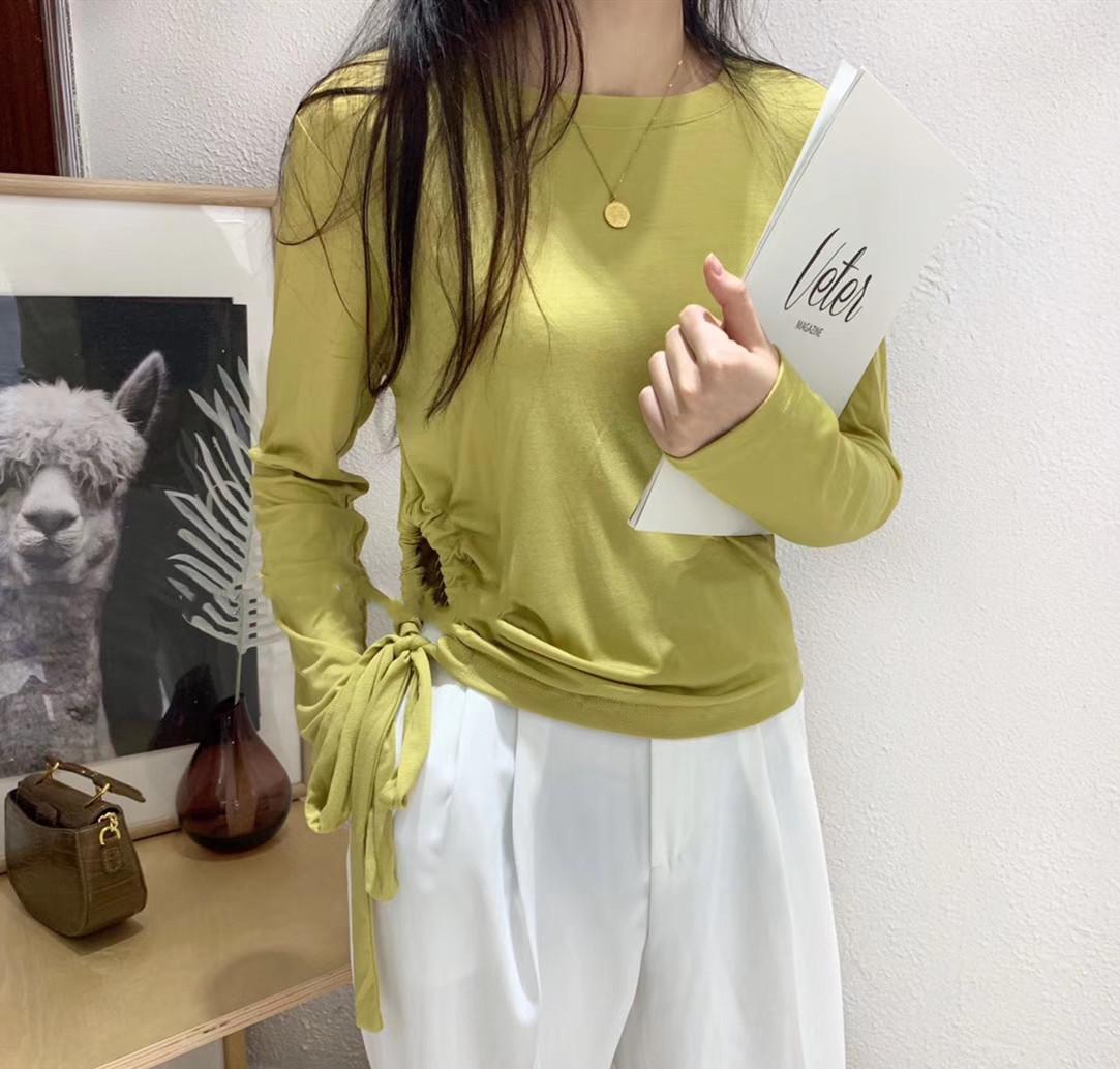 莫代尔T恤女长袖抽绳上衣长袖心机设计感长袖体恤2019秋装潮