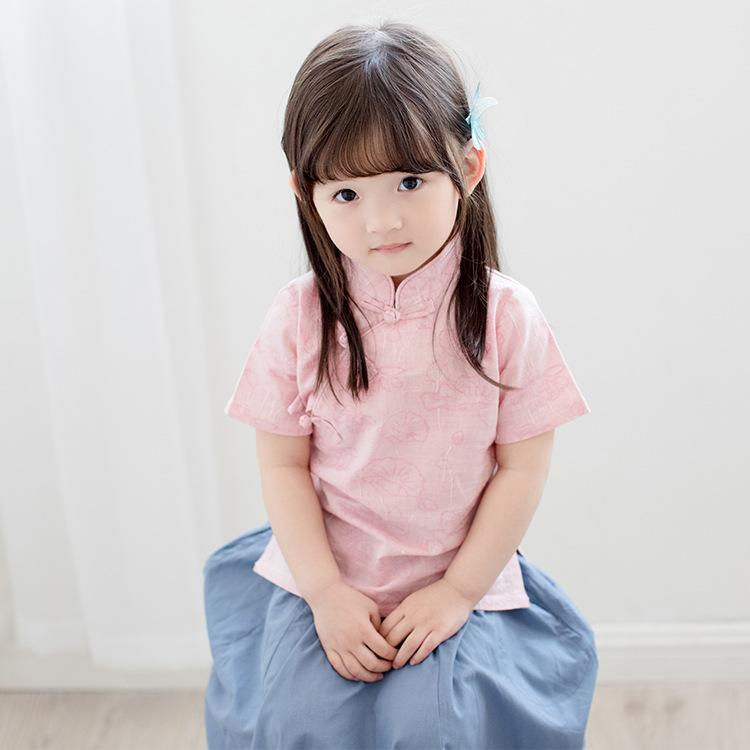 夏款女童短袖裙套装中国风纯棉汉服(用36元券)