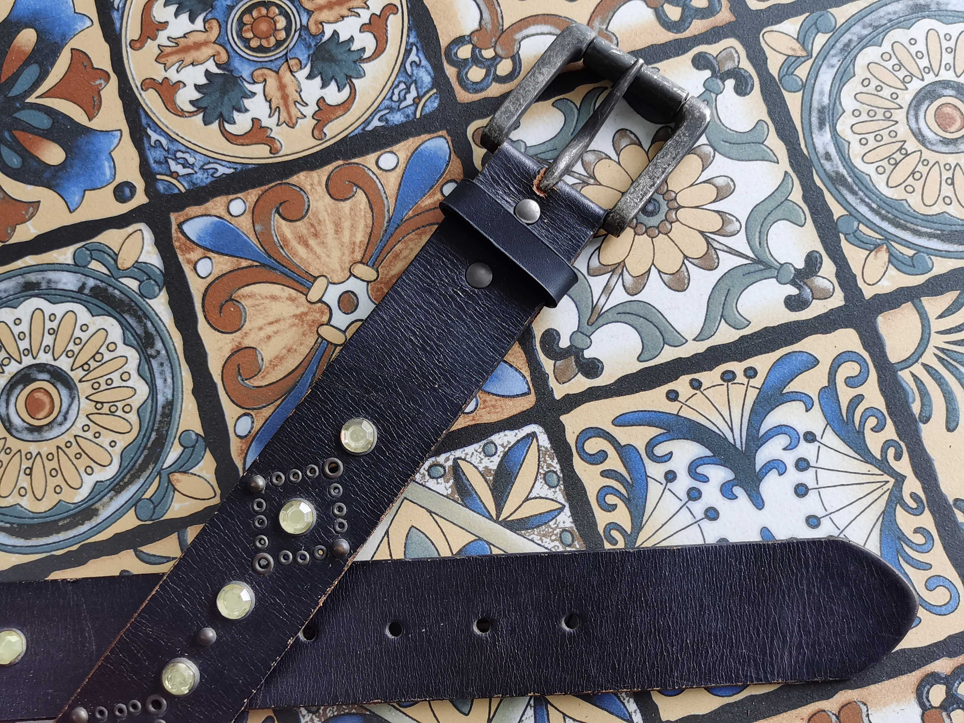Antique silver made pin buckle black inlay motorcycle style pure leather leisure belt for men