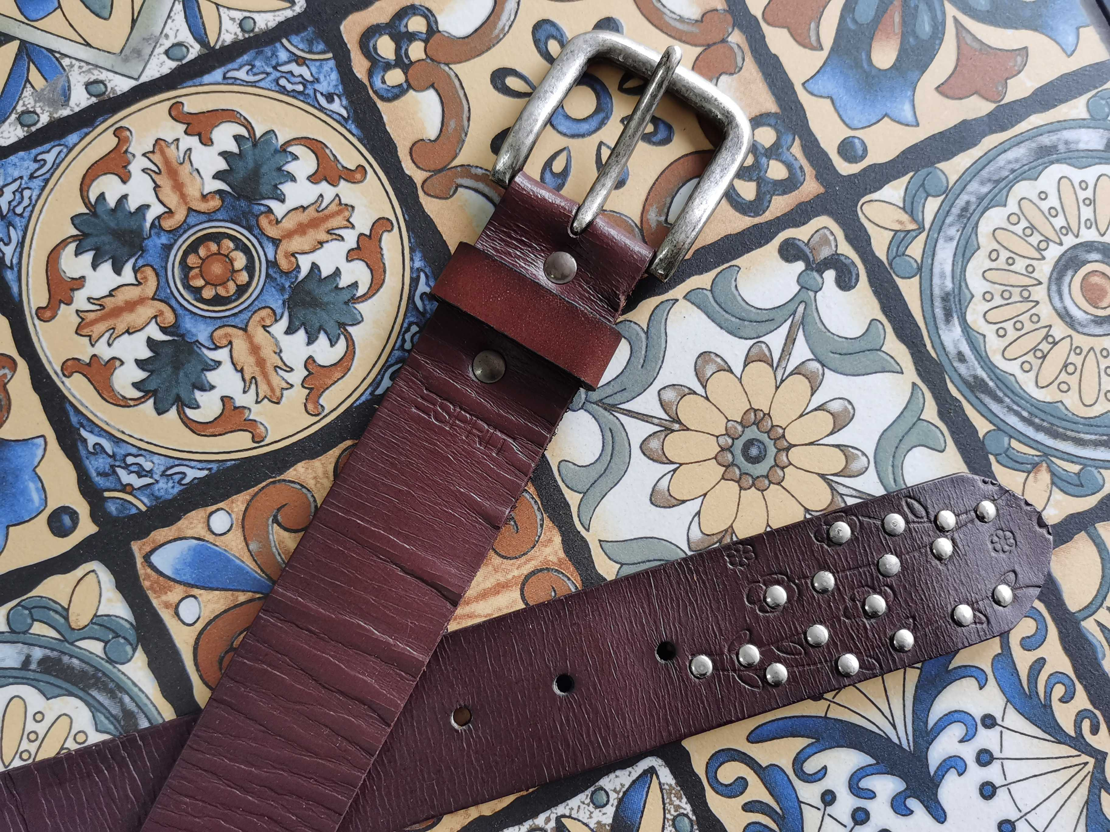 Antique silver used pin buckle dark brown inlaid nail pure leather casual mens belt