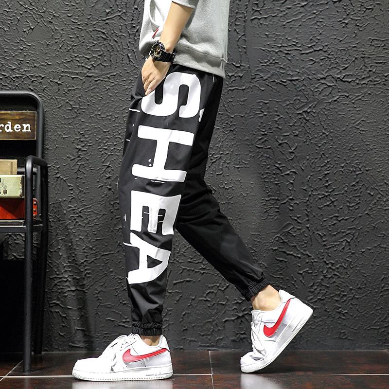 2020春装新款运动裤男士大字母宽松九分裤 301B-K8006-P45