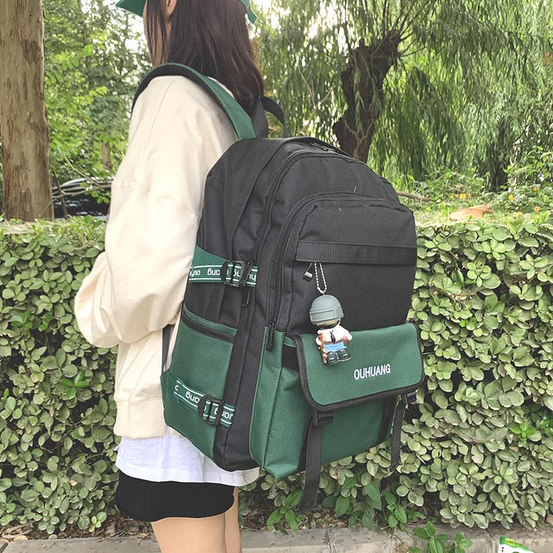 Schoolbag womens style backpack mens fashion fashion Korean version Harajuku high school students tide brand large capacity Backpack