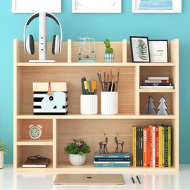 简易实木桌上书架学生儿童松木小书架收纳架多层柜桌面飘窗置物架