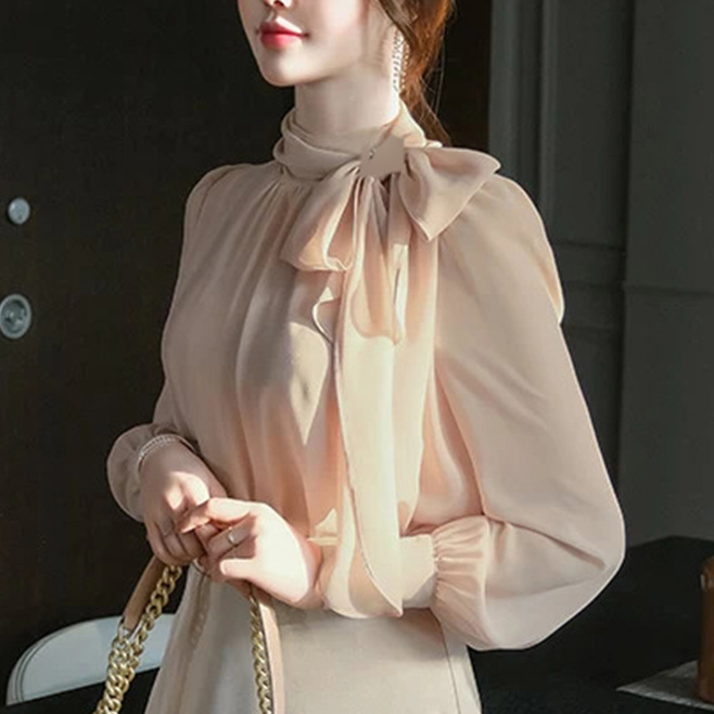 A South Korea imports and buys womens new style in autumn 2020 high neck pleated Scarf Collar Chiffon bubble sleeve shirt 9