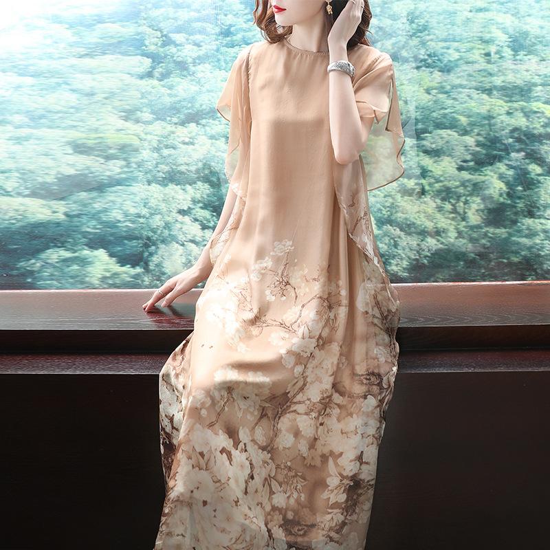 重磅真丝连衣裙2021新款夏季长裙高端大码女装杭州大牌桑蚕丝裙子