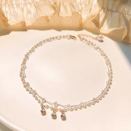 短款双层珍珠锁骨链网红小众简约气质项链女潮设计颈链颈带颈饰图片