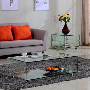 玻璃茶几长方形客厅简约现代小户型办公室茶几桌移动桌子家用家具