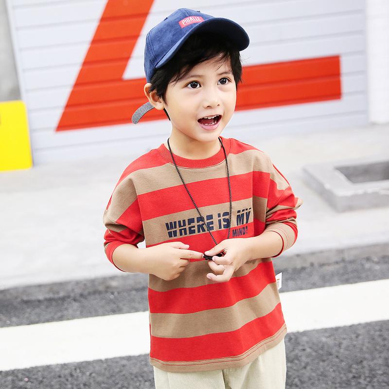 多多家童装宝宝印花t恤2018春秋装新款潮打底衫儿童条纹长袖体恤