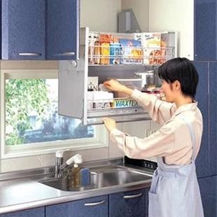 樱花升降拉篮收纳得吊柜升降拉篮厨房橱柜不锈钢升降机橱柜下拉篮