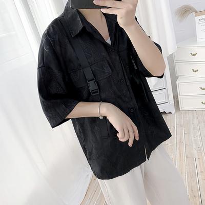 19年夏季新款ins同款复古工装落肩短袖衬衫暗黑款潮情侣S25-P70