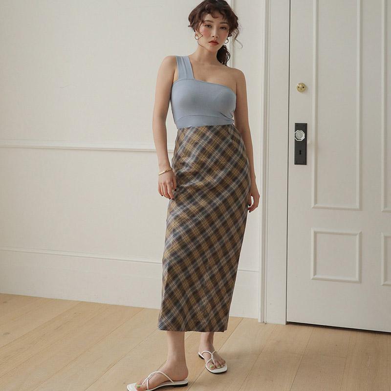 Stylenanda韩国官网代购格子半身裙女夏季新款高腰后开叉长款裙子
