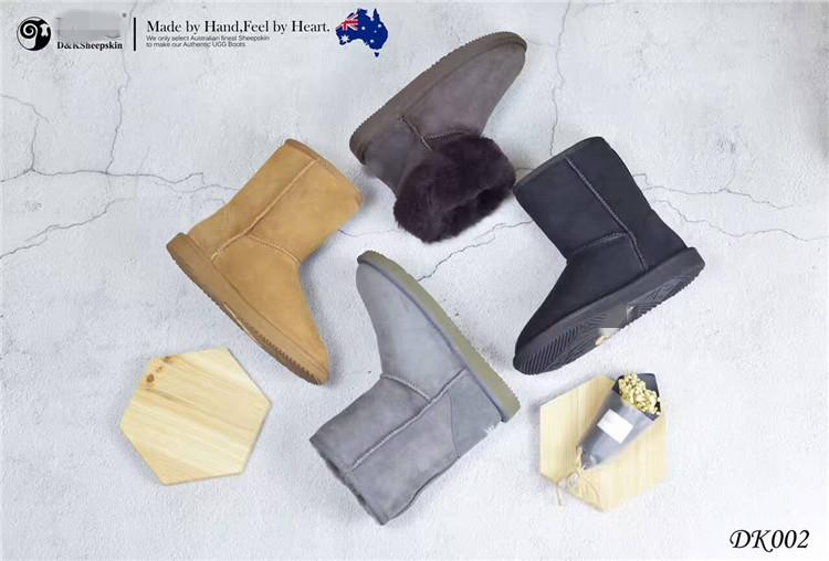 澳洲直邮 DK 女经典中筒雪地靴 羊皮毛一体 防水 DK002