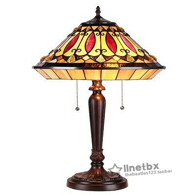 Buy Tiffany Style ruby tone amber colored glass desk lamp living room desk bedroom retro decoration