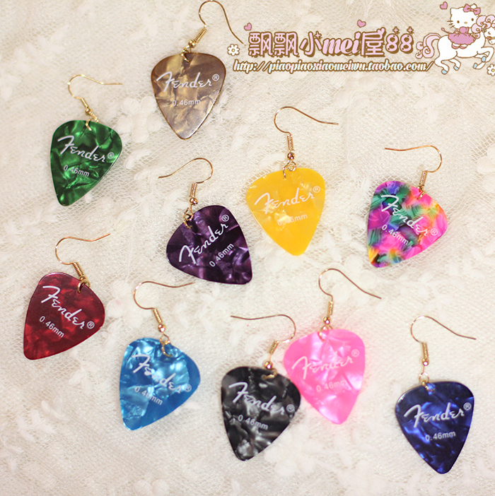 New Japanese shell pattern guitar plucked earrings / ear clips made in Harajuku street, limited sale at the same price