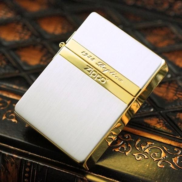 日本正品ZIPPO煤油打火机 1935经典复刻金色镜线拉丝做工简洁大气