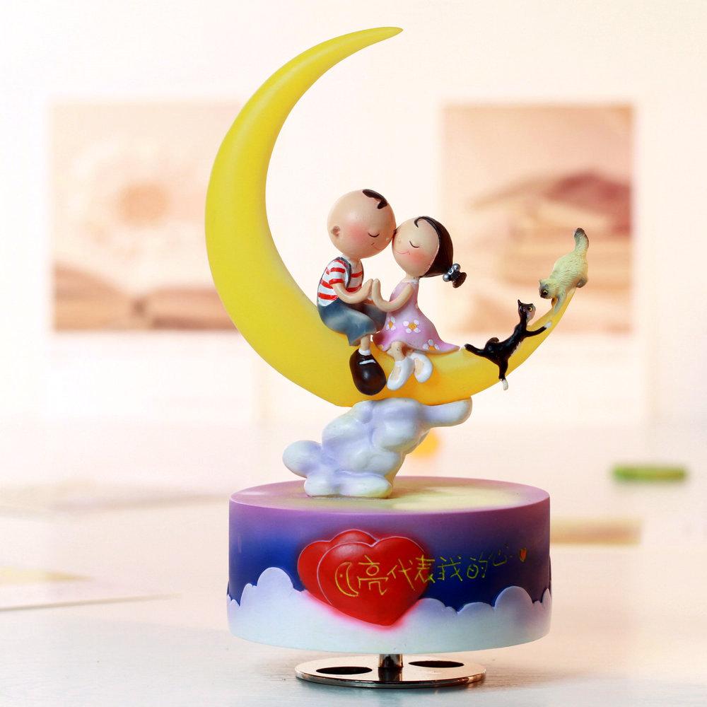 送女朋友创意生日发光旋转音乐盒心月亮代表我