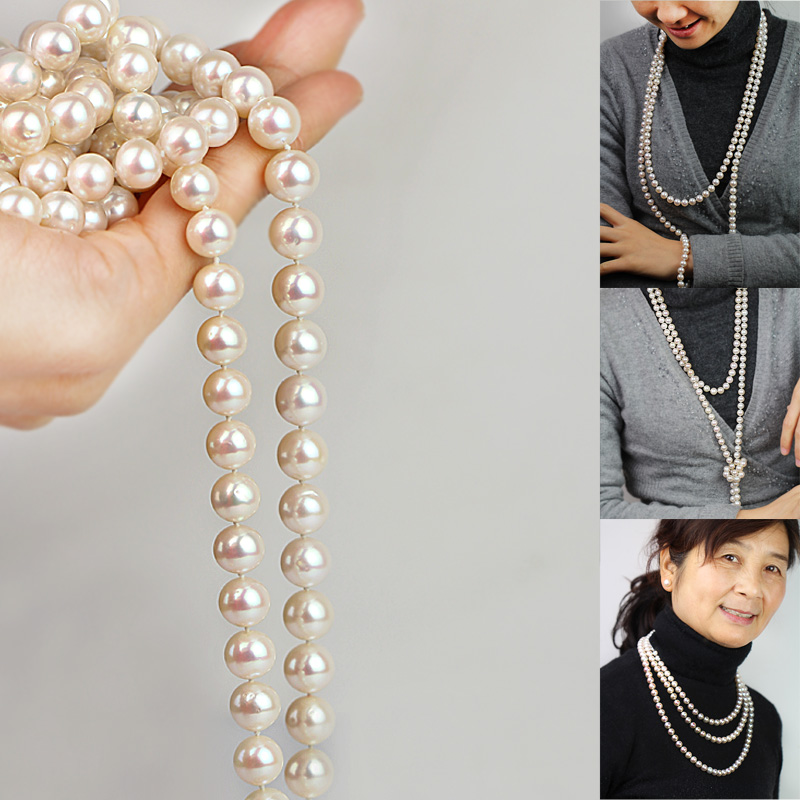 Shengyi jewelry pearl sweater chain 9-10 mm round bright pearl necklace long round freshwater pearl long chain double layer