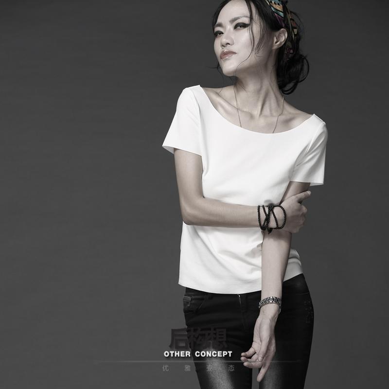 【后构想】永不过时2020夏季新款白色时尚一字肩ins圆领短袖T恤女
