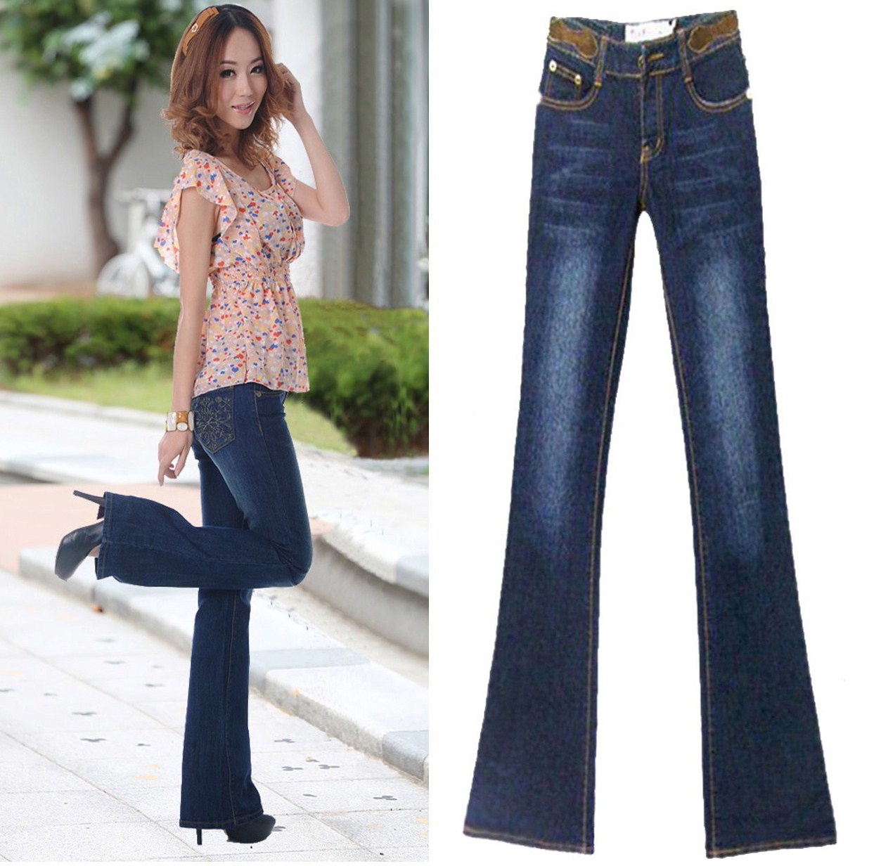 Cut size clearance elastic jeans mid low waist slim flared pants hip lift show thin womens jeans small micro flared