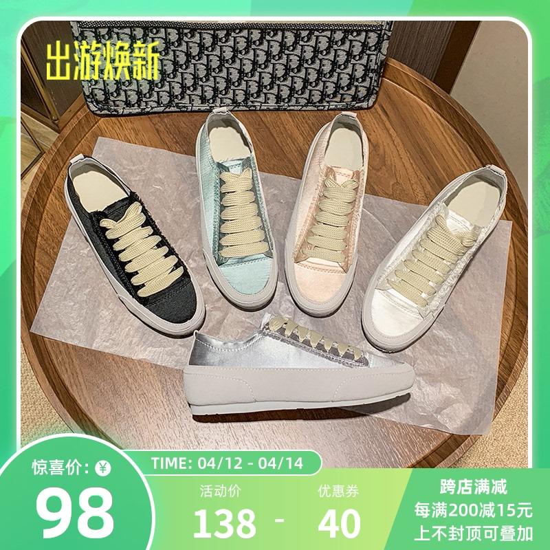 【粉丝价98元】2021春季休闲鞋平底小白鞋绸缎西班牙小众鞋帆布鞋