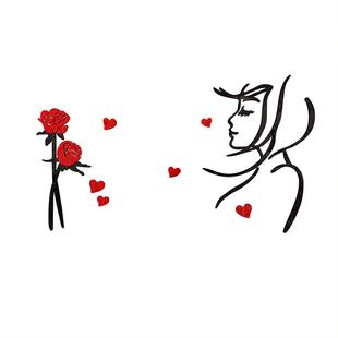 我們結婚啦卧室裝飾品房間佈置牀頭網紅温馨浪漫3d立體牆貼壁紙畫