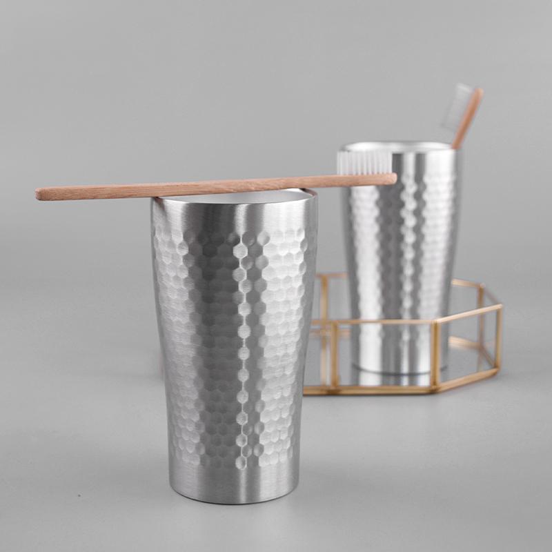 原创不锈钢双层口杯啤酒杯儿童防摔水杯家用冷饮杯随手杯洗漱口杯