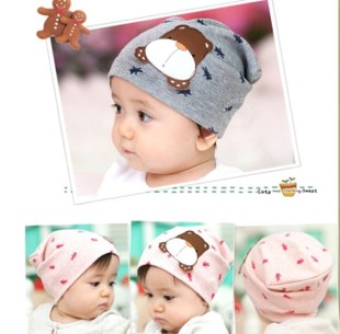 Korean version of the new puppy cartoon dog labeling set of head cap labeling children hats bonnet baby hat
