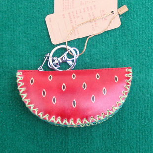 Women s cartoon change coins embossed handmade leather key Small pineapple small watermelon