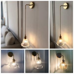 新款简约日式黄铜玻璃壁灯后现代北欧卧室床头走廊过道浴室镜前灯