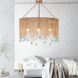 美式复古轻奢铜链条蓝色玻璃水滴客厅卧室吊灯 后现代法式餐厅灯