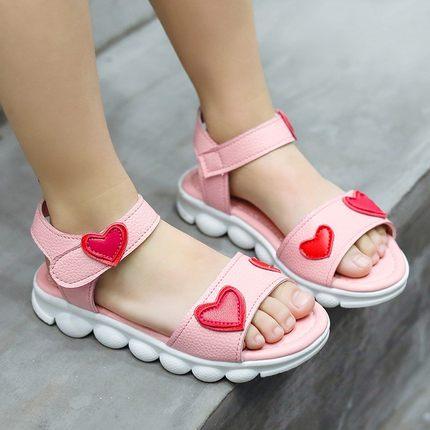 童鞋2019新款女童凉鞋夏季公主鞋防滑软底宝宝鞋女孩爱心沙滩鞋子