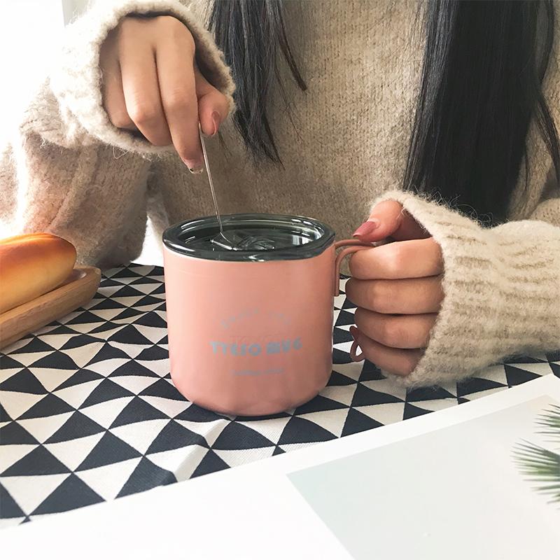 北欧ins简约咖啡杯女办公室水杯不锈钢马克杯带盖勺家用保温杯子12月03日最新优惠