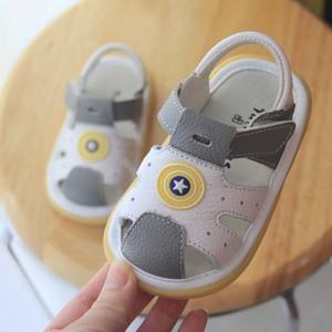 2020夏季新1-2岁宝宝凉鞋男学步婴儿凉皮鞋软底真皮小童包头防滑