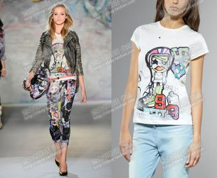 SALE Purchasing PATRIZIA PEPE serves Italian boy cartoon graffiti T Shirts