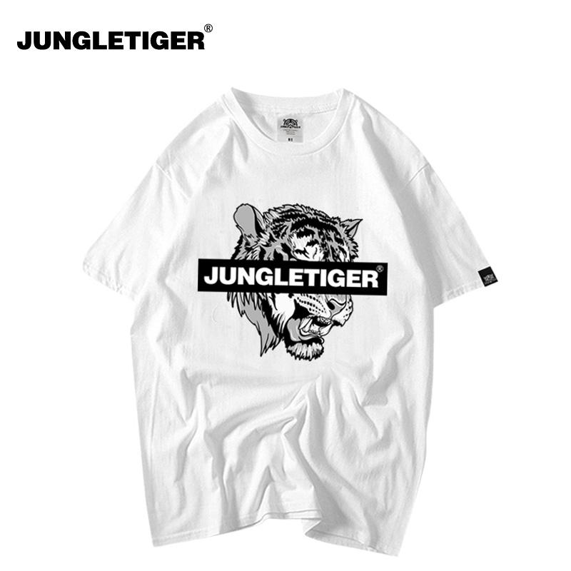2019夏季新品丛林老虎欧美街头潮牌T恤 青少年宽松白色短袖T恤
