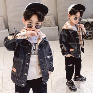 男宝五岁秋季儿童男童上衣时尚洋气牛仔衫女大童秋款外搭外套夹克