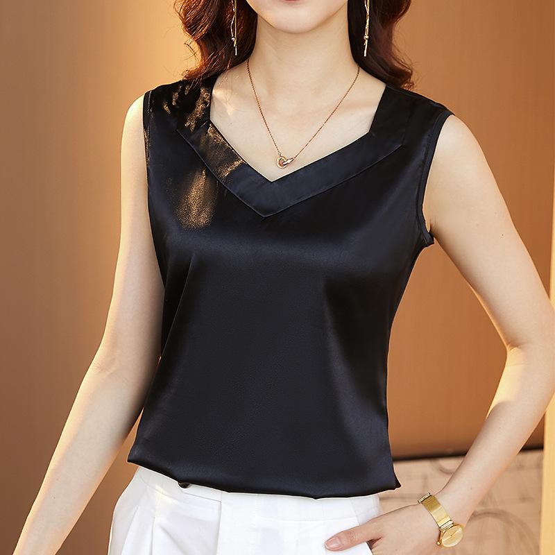 黑色V领吊带背心女2021夏内搭西装设计感外穿缎面打底衫无袖上衣