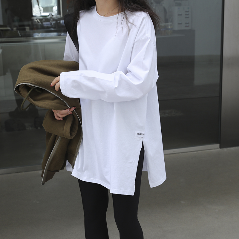 White bottoming shirt women's autumn and winter western style new spring cotton t-shirt long-sleeved foldable collocation with an artifact inside the sweater